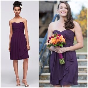 DAVID'S BRIDAL Strapless Dress Chiffon Short Plum